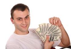 Mann mit Geld. Getrennt Lizenzfreies Stockfoto