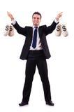 Mann mit Geldsäcken Stockfotos