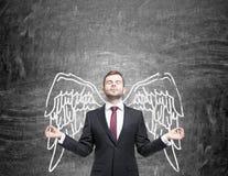 Mann mit gemalten Flügeln Lizenzfreie Stockfotografie