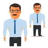 Mann mit Gläsern im weißen Hemd mit blauer Bindungs-Zeichentrickfilm-Figur Vektor lizenzfreie abbildung