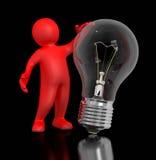 Mann mit Glühlampe (Beschneidungspfad eingeschlossen) Lizenzfreie Stockfotografie