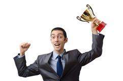 Mann mit goldenem Cup Stockfotos