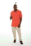 Mann mit Golfclub Stockfoto