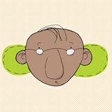 Mann mit Grün hinter Ohren Stockfoto