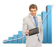 Mann mit Grafiken 3d und Tabletten-PC Stockbilder