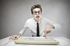 Mann mit großen Gläsern Lizenzfreie Stockbilder