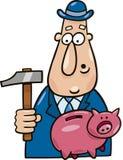Mann mit Hammer und piggy Querneigung lizenzfreie abbildung