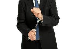 Mann mit Handschellen Stockbilder