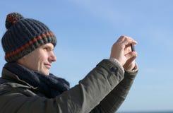 Mann mit Handy Stockfotos