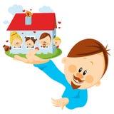 Mann mit Haus in der Hand Stockbild