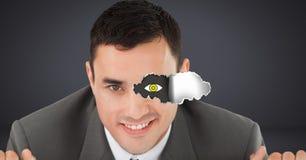 Mann mit heftigem Papier auf Auge und Augenzeichnung Lizenzfreies Stockfoto