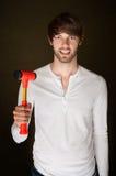 Mann mit Holzhammer Lizenzfreies Stockfoto