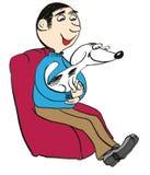 Mann mit Hund auf einem Stuhl Stockfotos