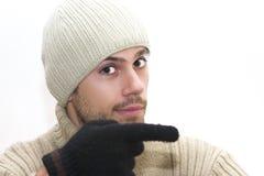 Mann mit Hut zeigend rechts Lizenzfreie Stockbilder