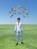 Mann mit Ideen über ihm Stockfotografie