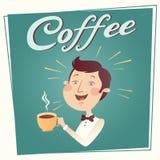 Mann mit Kaffeevektorplakat Stockbilder