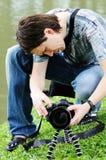 Mann mit Kamera. stockbilder