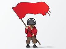 Mann mit Karikatur-Vektorillustration der roten Fahne Stockbild