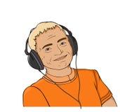 Mann mit Kopfhörer Stockbild