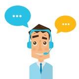 Mann mit Kopfhörern und bunter Rede sprudelt in Call-Center vektor abbildung