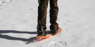 Mann mit Kordsamt auf weißem Schnee lizenzfreie stockfotos
