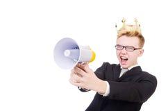 Mann mit Krone und Megaphon Stockbild