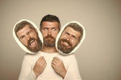 Mann mit langen Bart und dem Schnurrbart Stockfoto