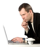 Mann mit Laptop Lizenzfreie Stockbilder