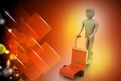 Mann mit Laufkatze für Lieferung Lizenzfreies Stockfoto