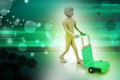 Mann mit Laufkatze für Lieferung Lizenzfreies Stockbild