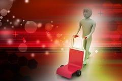 Mann mit Laufkatze für Lieferung Stockbild