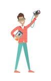 Mann mit Lautsprecher-und Foto-Kamera Verkaufspreis Lizenzfreies Stockbild