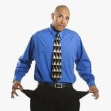 Mann mit leeren Taschen. stockfoto