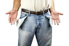 Mann mit leeren Taschen Stockbild