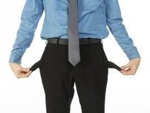 Mann mit leeren Taschen stockfotos