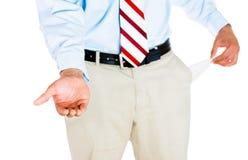 Mann mit leerer Tasche stockbilder