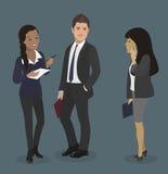 Mann mit Megaphon, Dame mit Kaffee Hübscher Geschäftsmann, Sekretär und Partner mit Smartphone Teamwork-Illustration Lizenzfreie Stockfotos