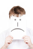 Mann mit mit einem traurigen Lächeln lizenzfreies stockbild