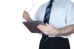 Mann mit modernem mobilem Computer Stockbilder
