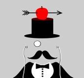 Mann mit Monocle und dem Schnurrbart stock abbildung