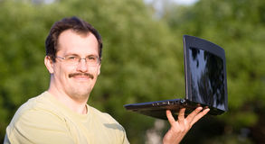 Mann mit Notizbuch Stockbilder