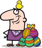 Mann mit Ostereiern und Huhnkarikatur Stockfoto
