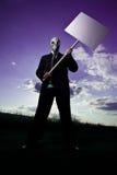Mann mit Protest-Zeichen u. Schablone Lizenzfreies Stockbild