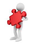 Mann mit Puzzlespiel auf weißem Hintergrund Lizenzfreie Stockfotos