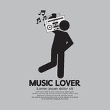 Mann mit Radiomusikfreund-Konzept Stockfoto