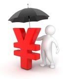 Mann mit Regenschirm und Yen Sign (Beschneidungspfad eingeschlossen) Stockfotografie