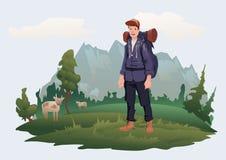 Mann mit Rucksack auf dem Hintergrund der Berglandschaft Gebirgstourismus, wandernd, aktive Erholung im Freien vektor abbildung