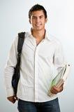 Mann mit Rucksack und Lehrbüchern Stockfotos