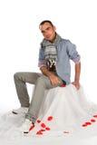 Mann mit Schal Stockfotos