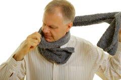 Mann mit Schal Stockfotografie